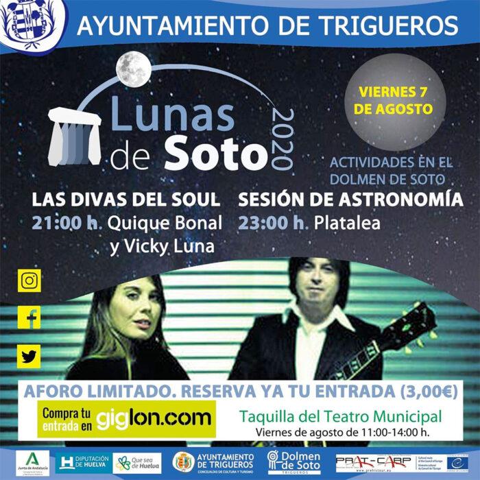 Vicky Luna y Quique Bonal en Las Lunas de Soto Dolmen Trigueros Agosto 2020