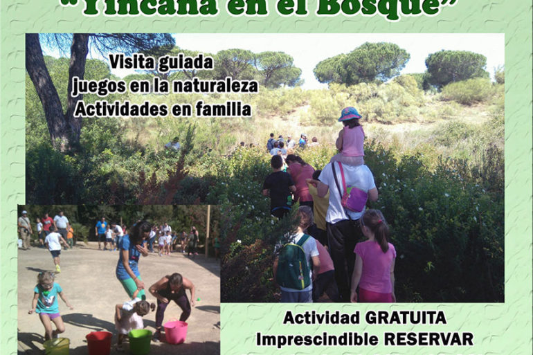 Yincana en el bosque día de familia en el jardín botánico con platalea