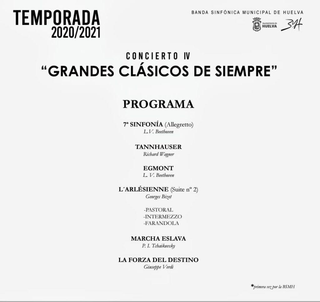 grandes clásicos de siempre noviembre 2020 sinfónica de Huelva