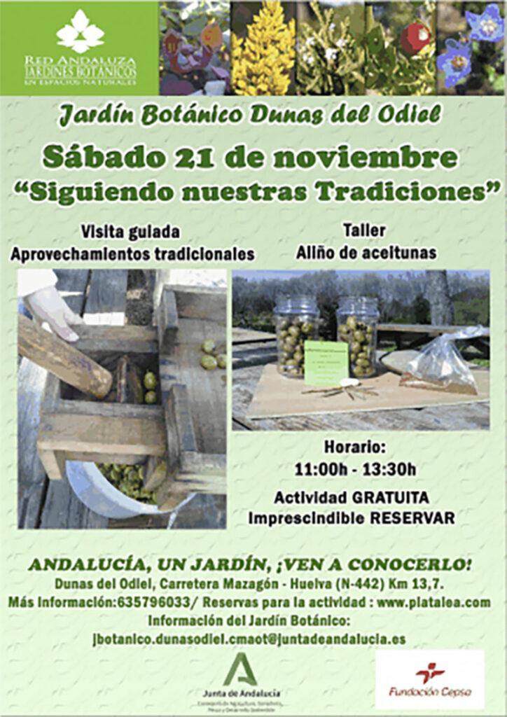 taller aceitunas visita jardin botanico Huelva niños
