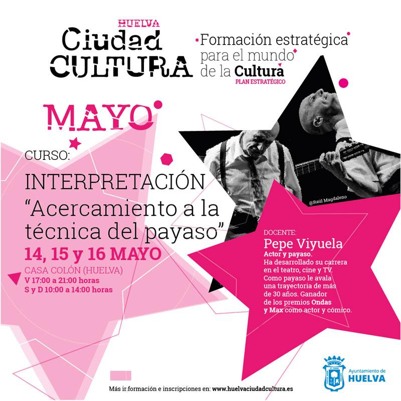 curso de interpretación con Pepe Viyuela mayo 2021 acercamiento a la técnica del payaso Huelva Casa Colón 2021