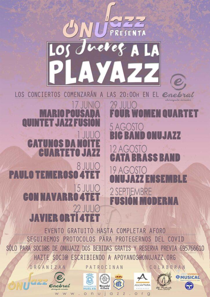 Programación Jazz en la playa los jueves en Punta Umbría con onujazz chiringuito enebral 2021 verano