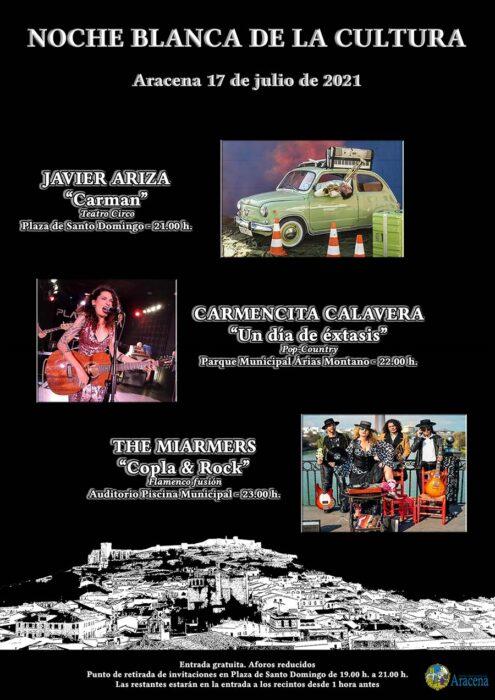 Noche Blanca de la Cultura Aracena 21 conciertos javier ariza carmencita calavera the miarmers