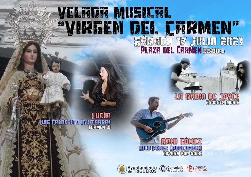 velada musica virgen del carmen trigueros la radio de joyce dani gomez lucia flamenco 17 julio