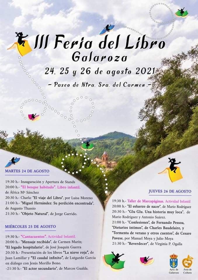 Feria del Libro en Galaroza 24 25 y 26 de agosto 2021