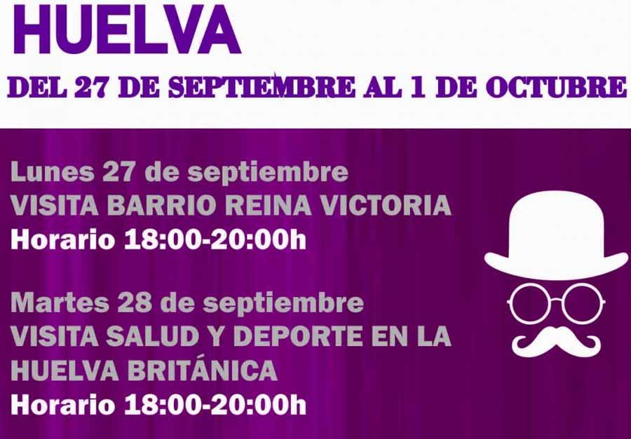 dia turismo huelva octubre 2021 visitas guiadas teatralizadas muelle tinto mineral barrio obrero reina victoria con platalea