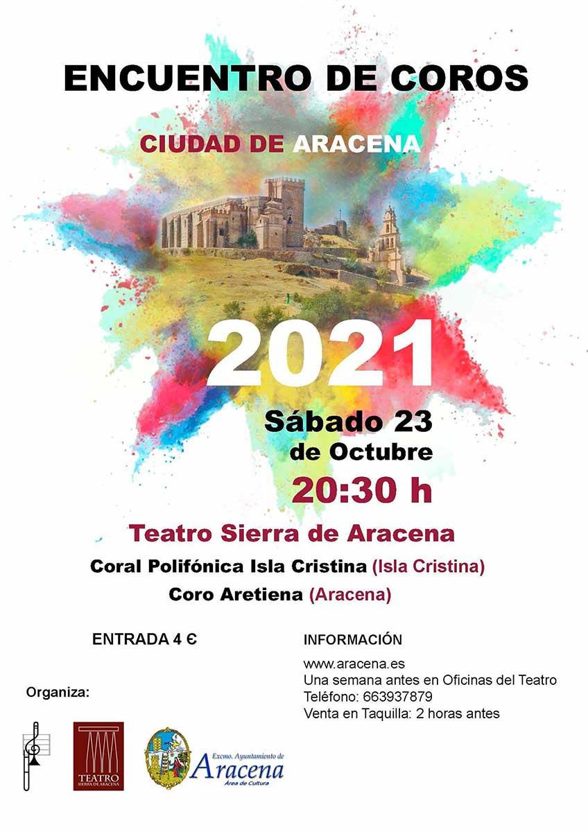 encuentro de coros ciudad de Aracena Teatro sierra de ARacena Coral coro Aretiena Coral polifonica Isla Cristina 23 octubre 2021